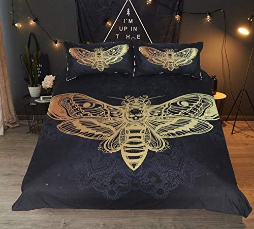 Fcao-Bettwäsche, 3D Motte Bettbezug Mit Kissenbezug Death Moth Bettwäsche Set Bettbezug Set Schwarz Und Golden Heimtextilien Für Erwachsene Schmetterling Boho Bettwäsche (Size : UK Double 200x200cm) (Schmetterling Bettwäsche Flecken)