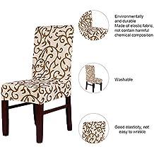 LianLe Fundas para sillas,Cubierta de Asiento Funda de Silla Comedor Spandex Poliéster marrón