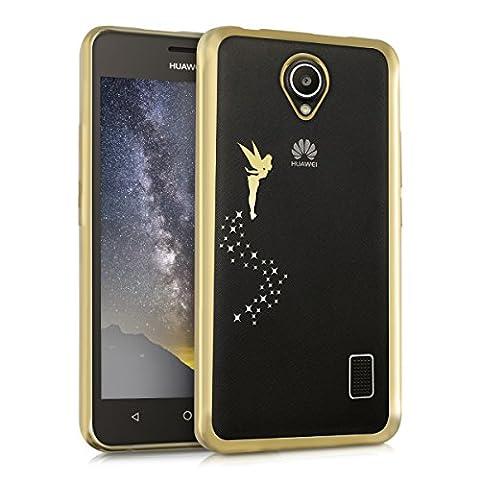 kwmobile Étui transparent en TPU silicone pour Huawei Ascend Y635 en doré transparent Design fée