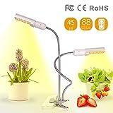 Relassy 88 LED Vollspektrum Pflanzenlampe 45W Wachstumslampe mit zwei auswechselbaren Beleuchtungskörpern Pflanzenlicht mit verstellbarem Schwanenhals, geeignet für Zimmerpflanzen und Fettpflanzen sowie für Hydroponik