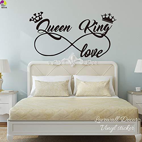 König und Königin Liebe Infinity Crown Wandaufkleber Schlafzimmer Sofa Familienliebhaber Frau Ehemann Wandtattoo Wohnzimmer Vinyl Home D 80 cm x 42 cm - Camouflage Königin Blatt