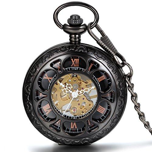 Taschenuhren Mit Kalender (JewelryWe Vintage Taschenuhr Herren Handaufzug mechanische Kettenuhr Skelett Uhr mit Halskette Kette Umhängeuhr Pocket Watch Vatertag Geschenk Schwarz)