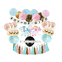 Gender Reveal Party Supplies (75 Pieces) with Photo Props, 36 Inch Reveal Balloon and Sash - Premium Baby Shower Decorations Set - Confetti Balloons, Boy or Girl Banner, Paper Lanterns