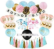 Gender Reveal Party Supplies (75 Pieces) with Photo Props, 36 Inch Reveal Balloon and Sash - Premium Baby Show