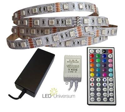 2 Meter RGB LED Streifen Set (60 LED/m, IP20) inkl. Controller, 44 Tasten Fernbedienung und 3 A Netzteil