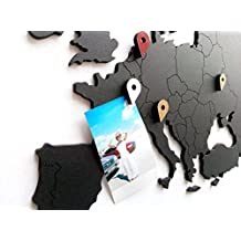 Gran mapa del mundo decoración de madera para decoración de la sala de estar o la oficina–Deluxe Kraft para viajeros–DIY Wall Art