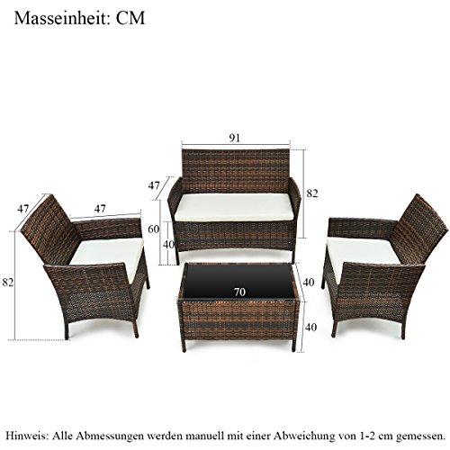 Merax Polyrattan Loungeset Gartenset Gartenmöbel Sitzgruppe Gartentisch 4-teiliges Lounge Set Balkon in Rattanoptik (Braun) - 2