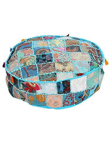 Home Furnishing Patch di lavoro Living Room Furniture Blu ottomano Pouf