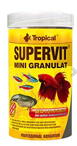 Supervit Mini Gran 100ml/65g multi-ingredient Mini Granulat mit Beta-Glucan für alle Typ von tropischen Fischen (- Muschel-fisch-falle)