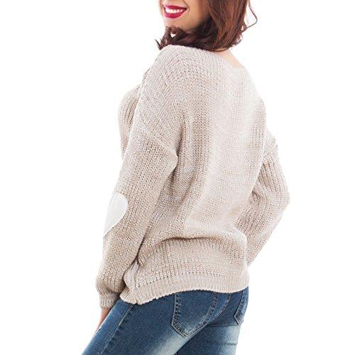 Toocool - Maglione donna pullover melange toppe cuori caldo pull inverno nuovo GI-17051 Beige