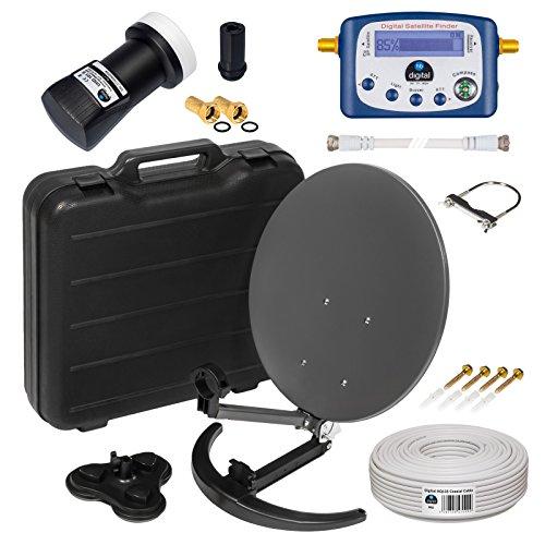 HD Camping Sat Anlage im Koffer von HB-DIGITAL:  Mini Sat Schüssel 40cm Anthrazit ➕ UHD Single LNB 0,1 dB ➕ Digital SATFINDER ➕ 10m SAT-Kabel inkl. F-Stecker  4K UHD Full HD 1080p fähig
