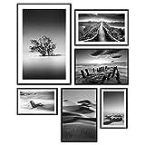 decomonkey | Poster 6er - Set mit schwarzem Rahmen schwarz-weiß Abstrakt Kunstdruck Wandbild Print Bilder Bilderrahmen Kunstposter Wandposter Posterset Landschaft Meer Strand Baum Natur Wildnis