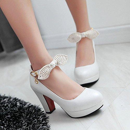 Mee Shoes Damen Plateau mit Schleife high heels Pumps Weiß