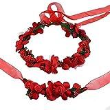 AiSi Blumenkranz mit Armband, Handgelenk Band Haarband Set, Stirnband Haarkranz Blumen Krone Boho Style für Festival Hochzeit Braut Brautjungfer Party (Rot)