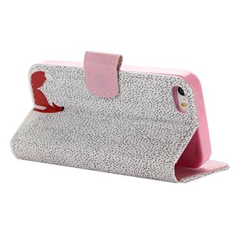 Voguecase® Pour Iphone SE Coque, Etui Housse Cuir Portefeuille Case Cover (plume grise 01)de Gratuit stylet l'écran aléatoire universelle Red Fox