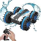 allcaca MTALR2B1 Amphibiöse Wasserdichte Fernsteuerung Auto 2,4 Ghz 4 WD All-Terrain RC LKW, doppelseitig, 360 Grad drehbar, 1/18 Maßstab Spielzeug für Kinder, Blau