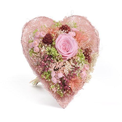 Bouquet corazòn -Sanremo secas flores de la Riviera tonos Rosa.