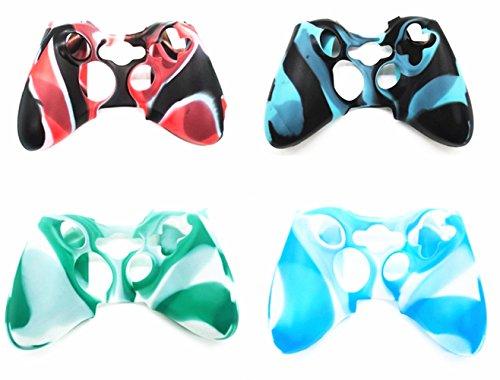 Hipipooo 4 Pack Soft Camouflage Silikon Schutzhülle Skin für Xbox 360 Controller (Skin Für Xbox 360 E)