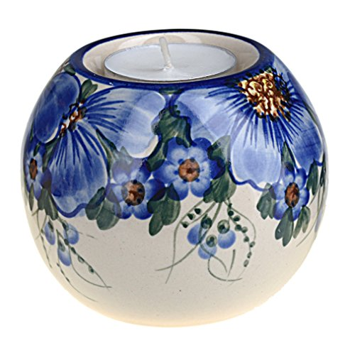 Classic Boleslawiec, Polish Pottery, Hand Painted Ceramic Ball, Tea Lite Candle Holder 502-a-064