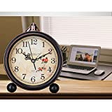 LanLan Retro Quartz European Simple Countryside Creative Student Bedside Non Ticking Silent Alarm Table Hanging Clock 8#