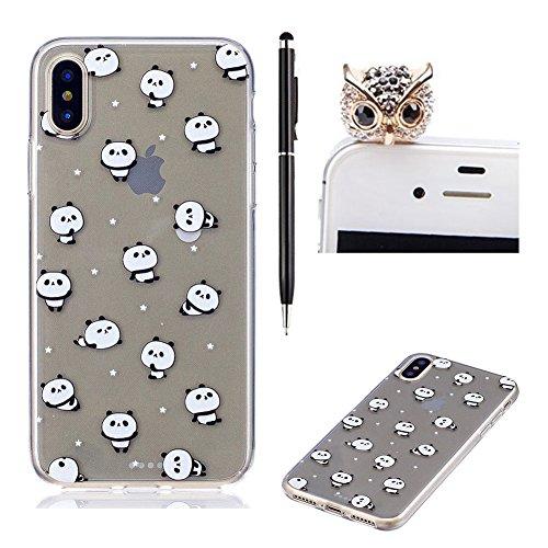 Pour iPhone 7 Cas,SKYXD pour iPhone 8 Coque GEL Souple TPU Transparente Incassable Anti Choc avec Impression Motif (Feuilles de banane) Panda