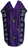 LA LEELA vertuschen Nachtwäsche Kaftan Baumwolle Batik Kappenhülse Maxi Kleid Kleider lang Bademode Sundress Damen Liege violett l-4x
