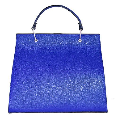 BORDERLINE - 100% Made in Italy - Borsa rigida da Donna in Vera Pelle - ANNA Blu elettrico