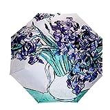 Extsud® faltbar Regenschirm Sonnenschirm UV-Schutz Taschenschirm Damen Schirm mit 96 cm Durchmesser (Stern Nacht)