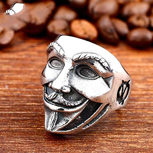 MegOK 316L Stainless Steel V for Vendetta Movie Guy Fawkes Mask Ring Factory Price Jewelry LR500,White,13 Guy White Hat