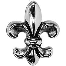 Durante la cadena de la flor de lis símbolo francés lirio de acero inoxidable de plata, color: sin cadena