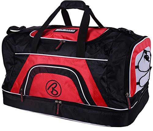 Brubaker - Sac de Sport 'Medium Base' - Spacieux & Robuste - 52L - Noir/Rouge