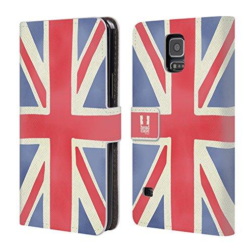 Head Case Designs Union Jack Das Beste Von London Leder Brieftaschen Huelle kompatibel mit Samsung Galaxy S5 / S5 Neo (S5 Galaxy London Case Samsung)