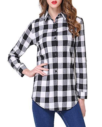Kyerivs Damen V-Ausschnitt Beiläufig Lose Shirt Oberteile Elegant Sexy Langarmshirt Kariert Hemd Tops Einstellbare Ärmeln (B-schwarz weiß, S) -