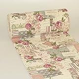 'camino de mesa Vintage en aspecto de lino–300mm–5m–Col. 53Beige de color rosa–A 73–280–5de 53