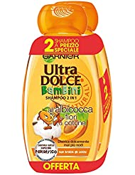 Garnier Ultra Dolce Shampoo 2-in-1 per Bambini all'Albicocca e Fiori di Cotone, Senza Parabeni, Ipoallergenico, 300 ml [Confezione da 2]