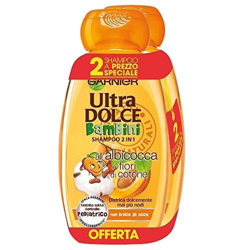 Garnier Ultra Dolce Shampoo 2in1 für Kinder Apricot und Cotone Blumen, ohne Parabene, hypoallergen, 300 ml, 3 Packungen mit je 2 Stück