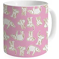 """okoukiu immagine di elefanti rosa Mug–Tazza da tè personalizzato regalo per compleanno, Natale e nuovo year-3.7""""X 3.1"""", 11oz"""