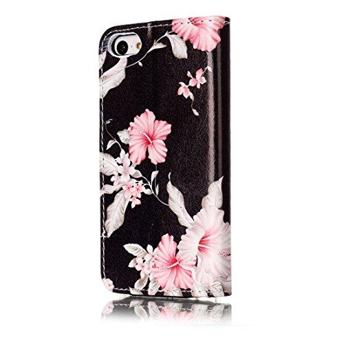 Tasche für Apple iPhone 5C Handy Flip Case Schutz Hülle mit Brieftasche mit Standfunktion Kartenfächer-Weiß Pfingstrose
