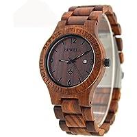 Bewell ZS–W086B uomo legno quarzo Orologio movimento al quarzo data Display orologio in legno di sandalo rosso