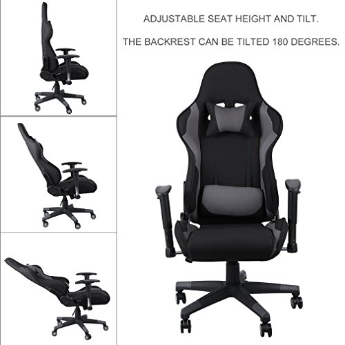 ALTERDJ Schreibtischstühle Gaming Stuhl Bürostuhl 2 Kissen Computer Stuhl Racing Gaming Chair, Kunstleder, Höhenverstellbar, 70 x 70 x 123-133 cm, Schwarz