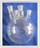 GOWE 20 L, parte inferior redonda de cristal, 4 cuellos de 200 ml, botella de vidrio para ebullición de cristal, 4 cuellos