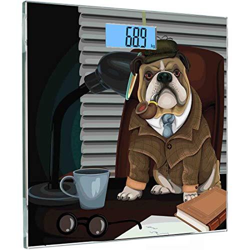 Ultraflache hochpräzise Sensoren Digitale Körperwaage Englische Bulldogge Gehärtetes Glas Personenwaage, Traditioneller englischer Detektivhund mit Pfeife und Hut Sherlock Holmes Image, Mehrfarbig (Hut Pfeife Sherlock Holmes Und)
