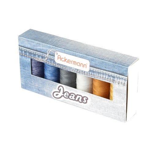 ACKERMANN® Jeans Nähgarnset Farben Mix Stärke 80, 6x 150m, Jeansgarn