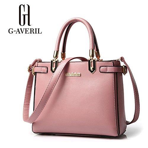 (G-AVERIL) 2018 Nappe semplice moda borsa di massa, Moda Delle Ragazze Donne Nappe in Pelle Borsa Bella Spesa Spalla Della Borsa Del Tote rosa1
