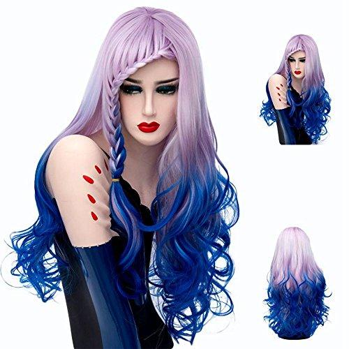 Mufly Cosplay Perruques en Fibre Synthétique Bleu Violet Gradient Bouclé avec Petit Tresse Résistant à la Chaleur 28'' pour Carnaval Halloween Soirée Fête etc