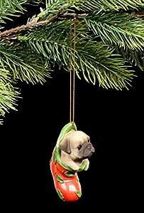 Christbaum-Schmuck Hunde Welpe Figur | Mops in Socke | Weihnachten Deko Kugel