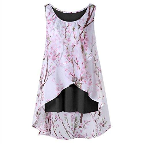 iHENGH Damen Sommerkleider Damen Kurzarm V-Ausschnitt Strand Blumen Kleider Abendkleid Knielang T-Shirt -