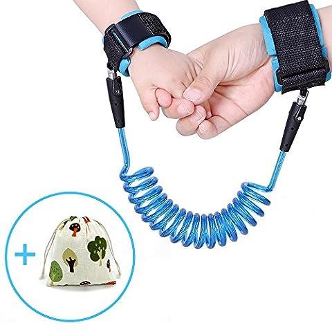 HeQiao Child Anti Lost Wrist Link Safety Leash Baby Toddler Wrist Straps Kids Hand Belt Flexible Children Walking Strap (5Ft Blue)