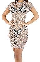 Fulok Womens Sexy Knit Hollow Short Sleeve Club Bodycon Mini Dress X-Small Pink