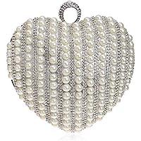 XNWYSTB Bolso de Novia \ Bolso de Noche de Embrague \ Bolsos de Hombro \ Bolso de Cena en Forma de corazón de Perla Vestido de Banquete Nupcial Exquisito Bolso de Embrague Bolso Mensajero